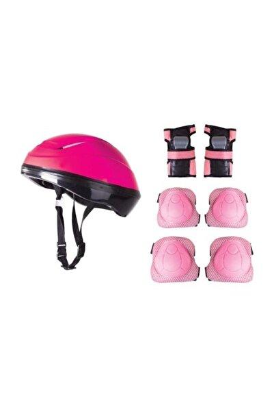 Furkan Toys Pembe Bisiklet Scooter Kask Dizlik Dirseklik Koruyucu Set