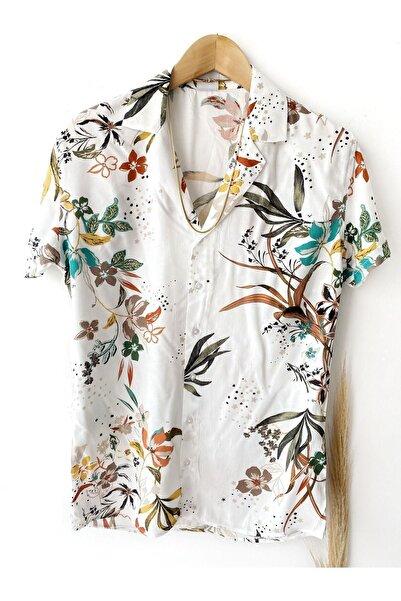 İnan Store Erkek Beyaz Yaprak Desenli Kısa Kollu Viskon Gömlek