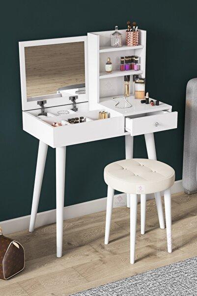 Canisa Concept Premium Serisi Aynalı Makyaj Masası,takı Dolabı & Puf