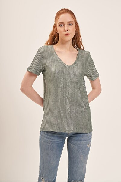 Batik A2154 V Yaka Simli T-shirt Yesıl