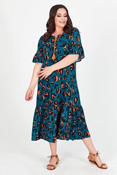 Womenice Kadın Yeşil Baskılı Yakası Bağalamalı Büyük Beden Elbise