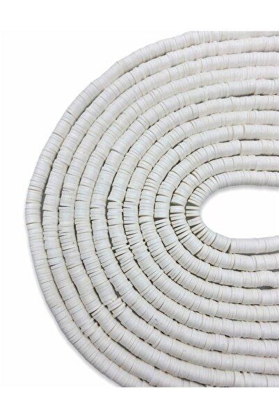 Hedef Bijuteri 6mm Beyaz Renk Polimer Kil Fimo Boncuk Dizisi,40cm Hamur Boncuk Fimo Dizi