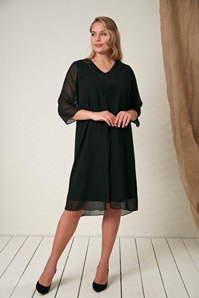 RMG Büyük Beden Yaka Taş Detaylı Elbise - 4114 Siyah