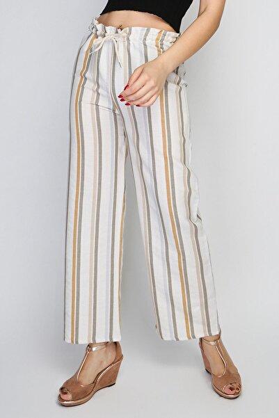 Rodi Kadın Orta Çizgili Lastik Bel Bol Paça Pantolon Rd21yb010122