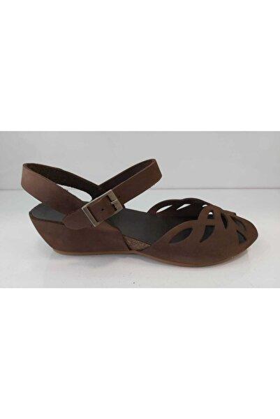 Greyder Kahverengi Hakiki Deri Kadın Sandalet