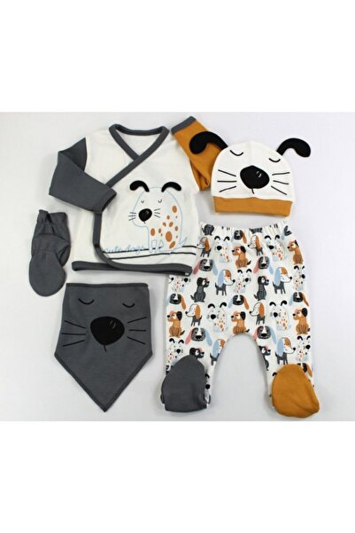 VERONA TARZ Köpek Erkek Bebek 5li Hastane Çıkış Seti Yenidoğan Kıyafeti