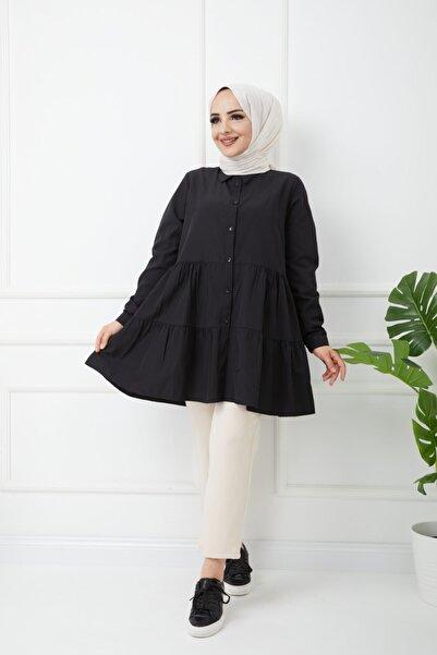 Bayanca Moda Kadın Tesettür Fırfırlı Poplin Gömlek Tunik
