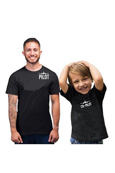 HediyeMania Babalar Gününe Özel Baba Oğul Pamuklu Tişört Kombini Pilot Co-pilot Siyah T-shirt 2 Adet Tshirt