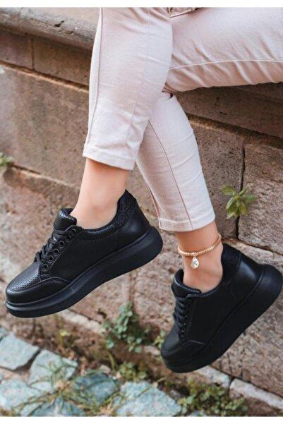 ESPARDİLE Voni Siyah Cilt Rugan Detaylı Spor Ayakkabı