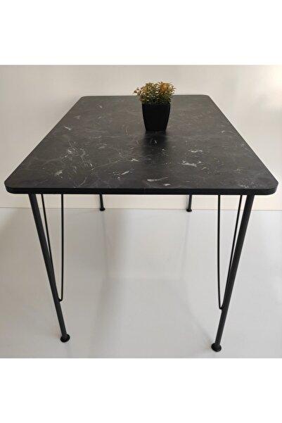 MSK mobilya dekorasyon Siyah Mermer Desen Oval Mutfak Masası 70x110