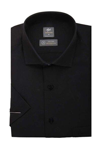 İgs Erkek Siyah Regularfıt / Rahat Kalıp Std Gömlek Kısa Kol