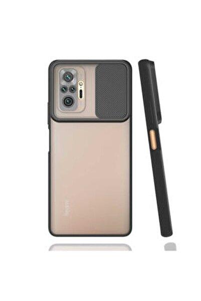 Redmi Note 10 Pro Kılıf Slayt Sürgülü Kamera Korumalı Arkası Buzlu Renkli Silikon