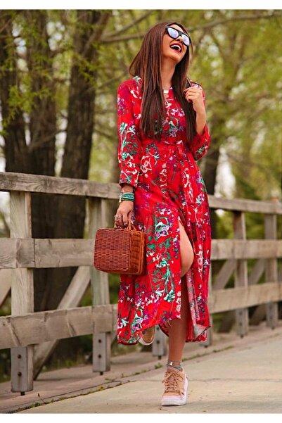 ELBİSENN Kadın Yeni Sezon Kırmızı Gömlek Elbise