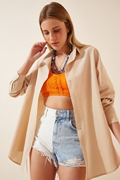 Kadın Krem Oversize Uzun Basic Gömlek DD00842