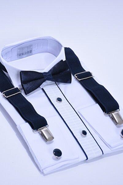 ceocuk Kol Düğmeli Beyaz Gömlek Ve Lacivert Askı Papyon Seti