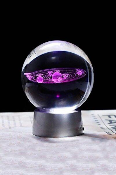 Kiraz Sapı Dekoratif Mini Gece Lambası Samanyolu Ay Gezegen Işıklı Cam Küre, Işıklı Kristal Top 6 Cm Çapında