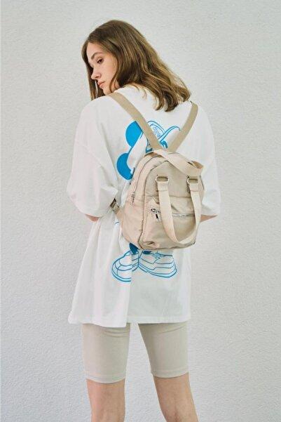 Shule Bags Kadın Çift Kulplu Bondit Kumaş Cep Detaylı Sırt Çantası Laura Bej