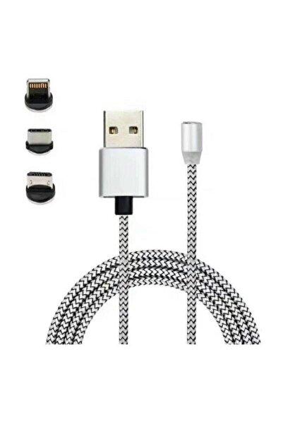 Mmctech Iphone Android Samsung Manyetik Mıknatıslı Şarj Kablosu Micro Usb Type-c Uyumlu