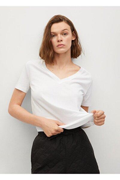 MANGO Woman Kadın Beyaz V Yakalı Pamuklu Tişört