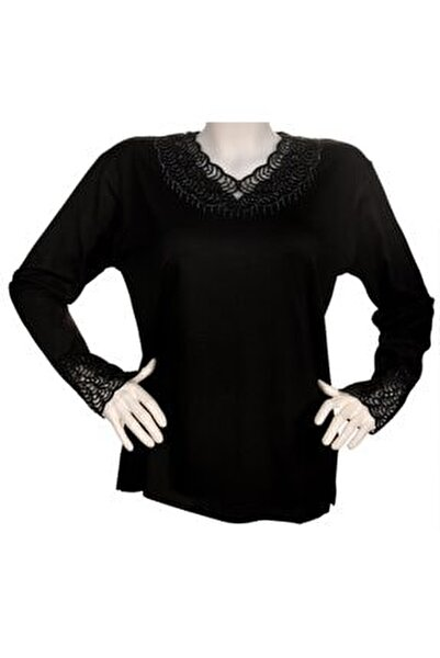Kadın Siyah Yakası Dantelli Anne Penye Bluz