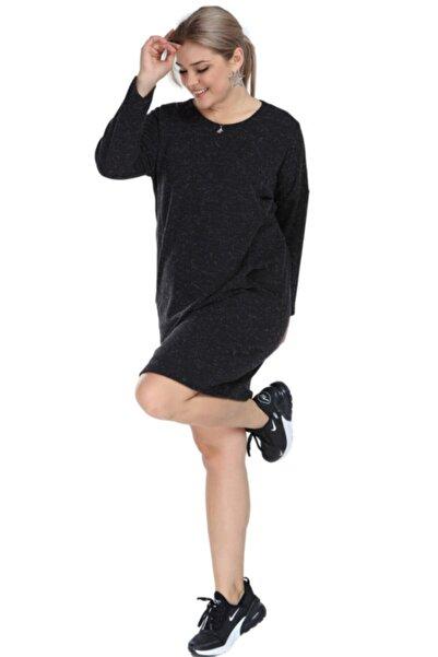 ANGELINO Kadın Gri Büyük Beden Kışlık Yumoş Antrasit Elbise