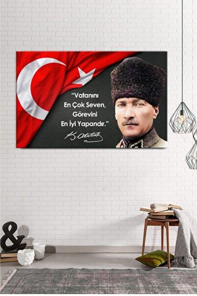 balbeyaz Atatürk Portresi Ve Sözleri, Kanvas Tablo , Kafe ,büro, Otel Ve Resmi Daireler Için Ideal