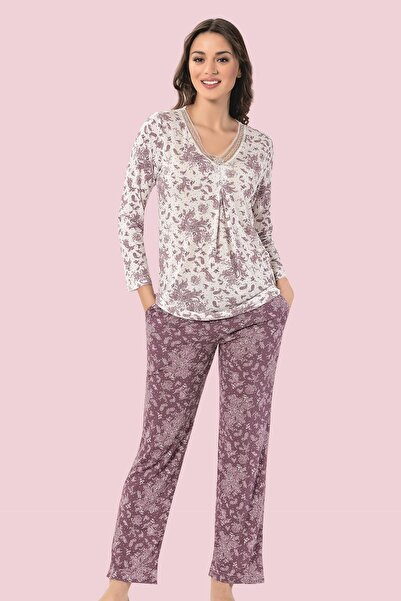 Mariposa Kadın Güpür Yaka Uzun Kol Desenli Pijama Takımı