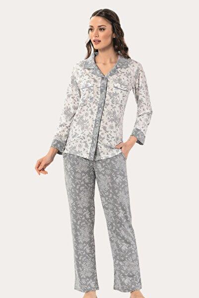 Mariposa Yakalı Düğmeli Uzun Kol Desenli Büyük Beden Pijama Takımı