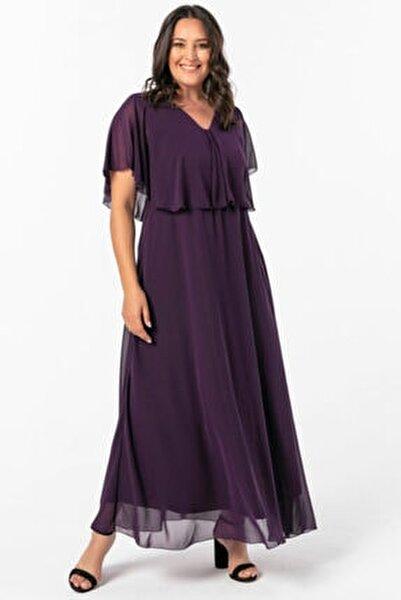 Kadın Mor Büyük Beden Beli Lastikli Elbise