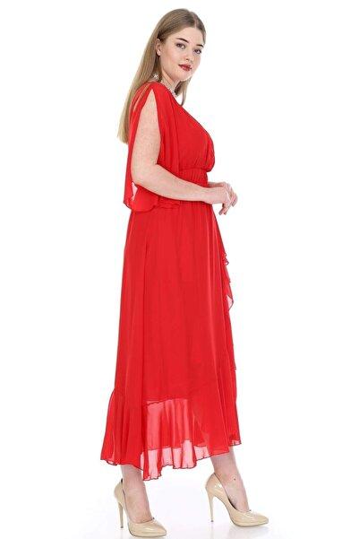 ANGELINO Kadın Kırmızı Şifon Uzun Elbise KL8020