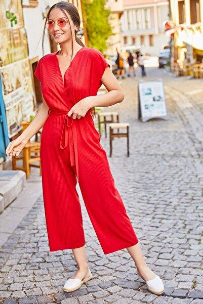 armonika Kadın Kırmızı Kruvaze Beli Kemerli Tulum ARM-20Y042008