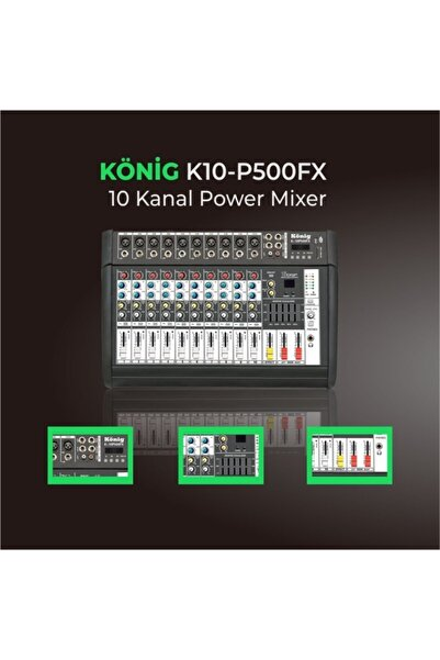 König K10 P-500fx Amfili Power Mikser 10 Ch 2x250 Watt