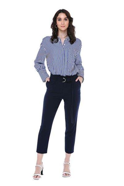 Modkofoni Yüksek Bel Tokalı Lacivert Bilek Pantolon