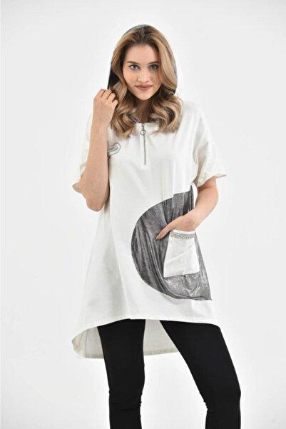 Modkofoni Kadın Beyaz Kapüşonlu Kısa Kollu  Elbise