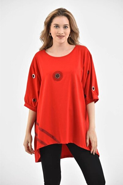 Modkofoni Kadın Yuvarlak Yaka Kısa Kollu Kuş Gözlü Taş Dizimli Kırmızı Elbise
