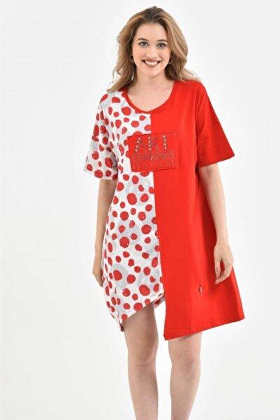 Modkofoni Yuvarlak Yaka Puantiyeli Asimetrik Kesim Ve Taşlı Kırmızı-Beyaz Elbise
