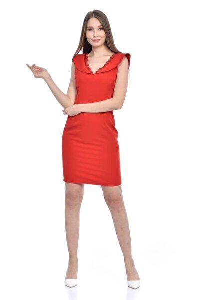 Modkofoni V Yaka Dantel Detaylı Kırmızı Abiye Elbise