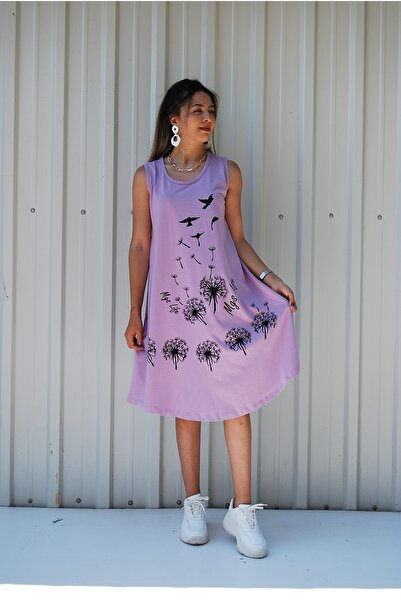 MGS LİFE Kadın Kolsuz Çiçek Baskılı Büyük Beden Elbise