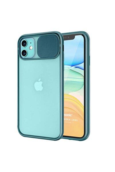 Cekuonline Iphone 11 Uyumlu Kılıf Slider Kamera Korumalı Sürgülü Case Koyu Yeşil + Kablo Koruyucu