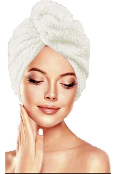 İKRARR Düğmeli %100 Pamuklu Saç Bonesi Saç Havlusu Ekru Yüksek Emiş Gücü
