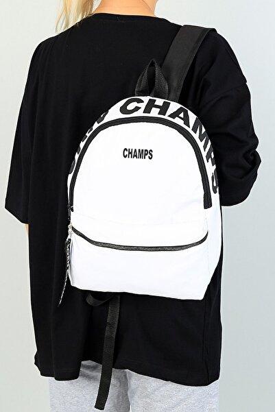G&E BAGS Champs Yazısı Baskılı Beyaz Kadın Sırt Çantası