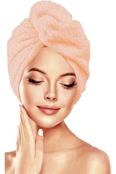 İKRARR Düğmeli %100 Pamuklu Saç Bonesi Saç Havlusu Turuncu Yüksek Emiş Gücü