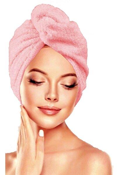 İKRARR Düğmeli %100 Pamuklu Saç Bonesi Saç Havlusu Pembe Yüksek Emiş Gücü