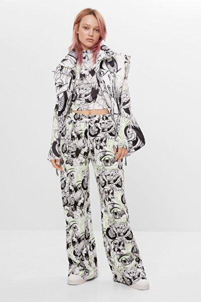 Bershka Kadın Beyaz Billie Eilish x Bershka geniş paça pantolon 05113851