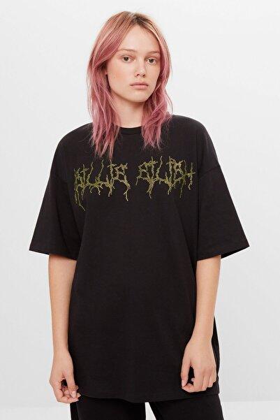 Bershka Kadın Siyah Billie Eilish x Bershka parlak taşlı t-shirt 07351851