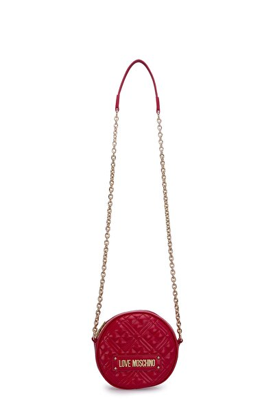 Love Moschino Kadın Kırmızı Logo Baskılı Ayarlabilir Zincir Omuz Askılı Çanta Çanta Jc4003pp1bla0500