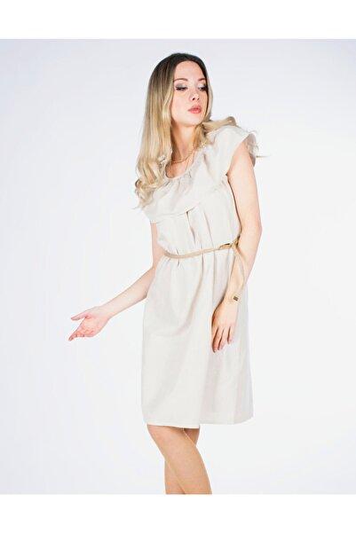 Vision Kadın Krem Hasır Kemerli Elbise