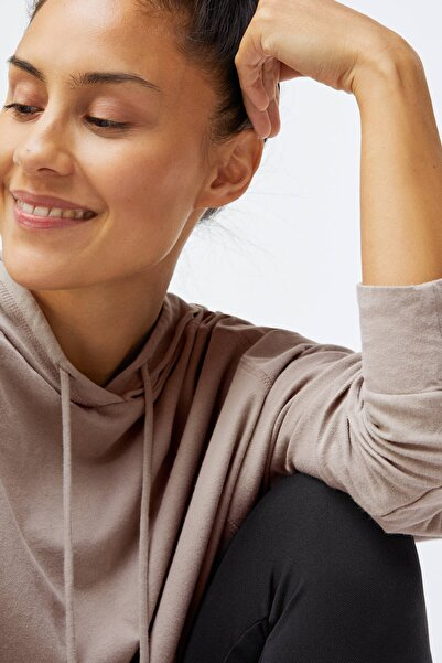 Oysho Kadın Bej %100 Organik Pamuklu Oversize Sweatshirt