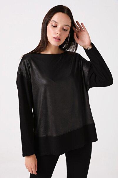 Gusto Kadın Siyah Organik Penye Bluz