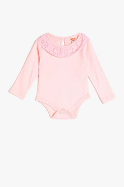 Koton Kız Bebek Pembe Uzun Kollu Dantelli Body